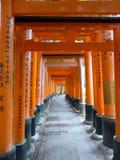 Torii portar på Fushimi Inari Taisha förvarar i Kyoto, Japan Royaltyfri Fotografi