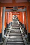 Torii portar på Fushimien Inari-taisha Arkivbilder