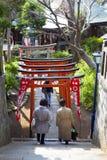 TORII-PORTAR PÅ UENO-TEMPLET, TOKYO Arkivfoton