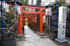 TORII-PORTAR PÅ UENO-TEMPLET, TOKYO Royaltyfria Foton