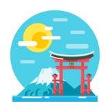 Torii shrine flat design landmark. Illustration Royalty Free Stock Photos