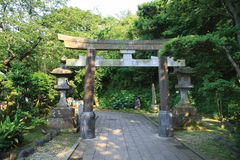 Torii and Stone Lanterns stock photography
