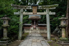 Torii with stone lanterns royalty free stock photography