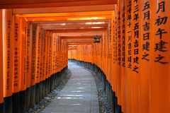 Torii tunnelbana i den Fushimi Inari-taisha relikskrin i Kyoto, Japan Royaltyfri Bild