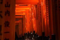 Toriipoorten bij het Heiligdom van Fushimi Inari in Kyoto, Japan Royalty-vrije Stock Afbeelding