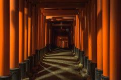 Toriischaduwen bij een heiligdom in Kyoto stock foto's