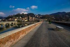 torinese的圣毛罗在河po的桥梁 免版税库存图片