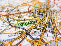 Torino city over a road map ITALY Royalty Free Stock Photography