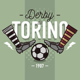 Torino Derby In Italian Label Design. Soccer Boots And Ball Flat. Thin Line Illustration.  Vector Graphic Stock Image