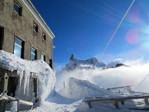Torino Hut in winter Stock Images