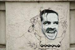 Torino, Italia, 17 03 2019: arte de la calle - el retrato de Jack Nicholson de la película una voló sobre la jerarquía del cuco fotografía de archivo libre de regalías