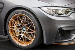 TORINO, ITALIA - 9 giugno 2016  A BMW grigio M4 GTS su esposizione alla manifestazione di automobile dell'aria aperta di Torin Immagine Stock Libera da Diritti