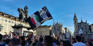 Torino, Italia 21 maggio 2017 Tifoso di Juventus che celebra vittoria di campionato Fotografie Stock Libere da Diritti