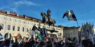 Torino, Italia 21 maggio 2017 Tifoso di Juventus che celebra vittoria di campionato Immagini Stock