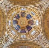 TORINO, ITALIA - 13 MARZO 2017: Il noe - cupola barrocco in chiesa Chiesa di San Giuseppe da Federico Siffredi fotografie stock
