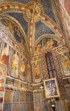 TORINO, ITALIA - 14 MARZO 2017: L'affresco in chiesa Chiesa di San Domenico e delle Grazie della capella da un artista sconosciut Fotografia Stock