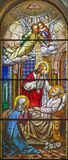 TORINO, ITALIA - 15 MARZO 2017: La morte di St Joseph sul vetro macchiato della basilica Maria Ausiliatrice della chiesa Immagini Stock