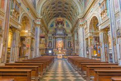 TORINO, ITALIA - 14 MARZO 2017: La navata della chiesa barrocco Chiesa di San Carlo Borromeo Fotografie Stock Libere da Diritti