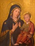 TORINO, ITALIA - 13 MARZO 2017: La pittura di Madonna con il bambino in chiesa Chiesa di San Giuseppe da Enrico Reffo 1909 Fotografia Stock Libera da Diritti