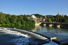 Torino, Italy. View of the Po river and bridge Stock Photo