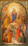 Torino - la pittura di Madonna con il bambino sull'altare della miniera nella basilica Maria Ausiliatrice della chiesa da Tommaso Immagine Stock