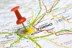 Torino on a map. Close up of Torino Italy on a map with red pin Royalty Free Stock Photos