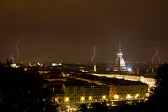 Torino, Mole Antonelliana and Lightning - Turin Royalty Free Stock Photo