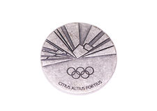Torino 2006 Olympic Games Participation medal, reverse. Kouvola, Finland 06.09.2016. Royalty Free Stock Photo