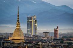 Torino panorama with close-up on Mole Antonelliana Stock Photography