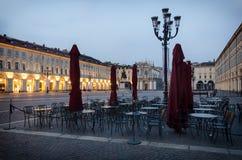 Torino piazza San Carlo przy zmierzchem Zdjęcia Royalty Free