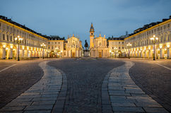 Torino Piazza San Carlo at twilight Royalty Free Stock Photo