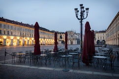 Torino Piazza San Carlo at twilight Royalty Free Stock Photos