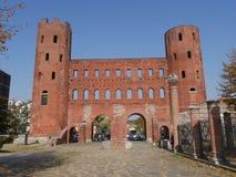 Torino. Piedmont, Italy - Palatine gate made by Romans Stock Photo