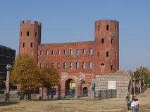 Torino. Piedmont, Italy - Palatine gate made by Romans Royalty Free Stock Image