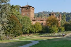 Torino. Piedmont, Italy - Valentino Medieval Borgo, the garden Stock Photography