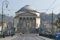 Torino. Piedmont, Italy - Vittorio Emanuele bridge and church big Mother of God Royalty Free Stock Photos