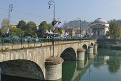 Torino. Piedmont, Italy - Vittorio Emanuele bridge and church big Mother of God Stock Photo