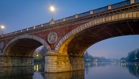 Torino (Torino), Ponte Isabella e fiume Po Fotografie Stock Libere da Diritti
