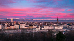 Torino Turin, Italy: expansive cityscape at dusk Royalty Free Stock Photo