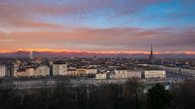 Torino Turin, Italy: expansive cityscape at dusk Stock Photos