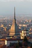 Torino (Turin), panorama med Cappuccini och Mole Arkivbild