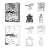Tork tvagningmaskin, rengöringkläder, blekmedel Fastställda samlingssymboler för kemtvätt i översikten, monokrom stilvektor vektor illustrationer
