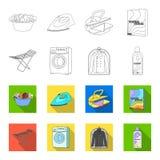 Tork tvagningmaskin, rengöringkläder, blekmedel Fastställda samlingssymboler för kemtvätt i översikten, symbol för lägenhetstilve vektor illustrationer