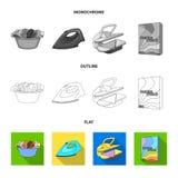 Tork tvagningmaskin, rengöringkläder, blekmedel Fastställda samlingssymboler för kemtvätt i lägenheten, översikt, monokrom stilve royaltyfri illustrationer