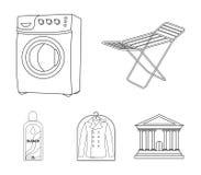 Tork tvagningmaskin, rengöringkläder, blekmedel Fastställda samlingssymboler för kemtvätt i materiel för symbol för översiktsstil royaltyfri illustrationer