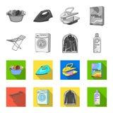 Tork tvagningmaskin, rengöringkläder, blekmedel Fastställda samlingssymboler för kemtvätt i monokrom, symbol för lägenhetstilvekt stock illustrationer