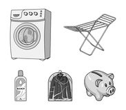 Tork tvagningmaskin, rengöringkläder, blekmedel Fastställda samlingssymboler för kemtvätt i monokromt materiel för stilvektorsymb royaltyfri illustrationer