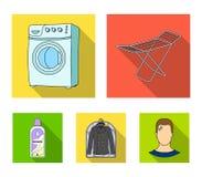 Tork tvagningmaskin, rengöringkläder, blekmedel Fastställda samlingssymboler för kemtvätt i plant materiel för stilvektorsymbol vektor illustrationer