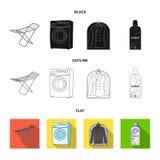 Tork tvagningmaskin, rengöringkläder, blekmedel Fastställda samlingssymboler för kemtvätt i svart, lägenhet, översiktsstilvektor vektor illustrationer