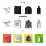 Tork tvagningmaskin, rengöringkläder, blekmedel Fastställda samlingssymboler för kemtvätt i svart, lägenhet, monokrom stilvektor royaltyfri illustrationer